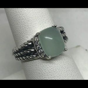 David Yurman Petite Wheaton Aqua Chalcedony  Ring